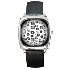 Icon Ball Logo Google Networking Square Metal Watch
