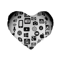 Icon Ball Logo Google Networking Standard 16  Premium Flano Heart Shape Cushions by Nexatart