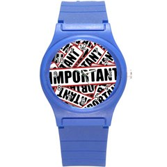 Important Stamp Imprint Round Plastic Sport Watch (s) by Nexatart
