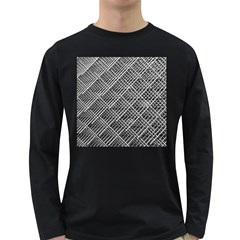 Grid Wire Mesh Stainless Rods Long Sleeve Dark T Shirts