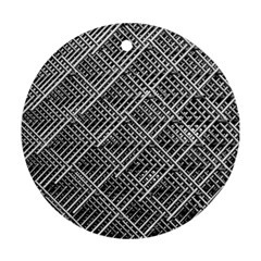 Grid Wire Mesh Stainless Rods Round Ornament (two Sides) by Nexatart