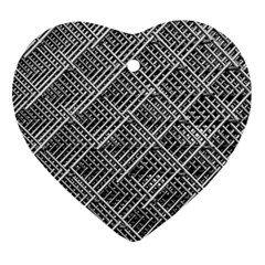 Grid Wire Mesh Stainless Rods Heart Ornament (two Sides)