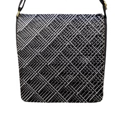 Grid Wire Mesh Stainless Rods Flap Messenger Bag (l)  by Nexatart