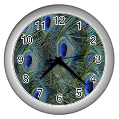 Peacock Feathers Blue Bird Nature Wall Clocks (silver)  by Nexatart