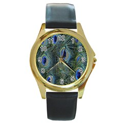 Peacock Feathers Blue Bird Nature Round Gold Metal Watch