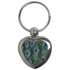 Peacock Feathers Blue Bird Nature Key Chains (heart)  by Nexatart