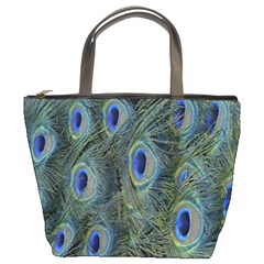 Peacock Feathers Blue Bird Nature Bucket Bags by Nexatart