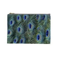 Peacock Feathers Blue Bird Nature Cosmetic Bag (large)