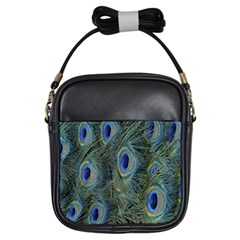 Peacock Feathers Blue Bird Nature Girls Sling Bags