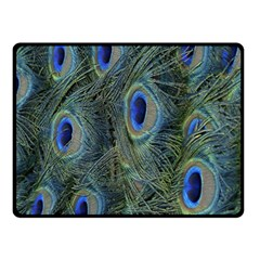 Peacock Feathers Blue Bird Nature Fleece Blanket (small)