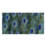 Peacock Feathers Blue Bird Nature Satin Shawl Front