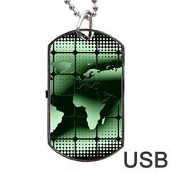 Matrix Earth Global International Dog Tag Usb Flash (two Sides) by Nexatart