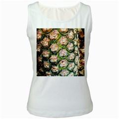 Pineapple Texture Macro Pattern Women s White Tank Top