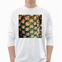 Pineapple Texture Macro Pattern White Long Sleeve T Shirts