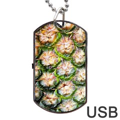 Pineapple Texture Macro Pattern Dog Tag Usb Flash (one Side)