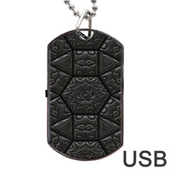 Tile Emboss Luxury Artwork Depth Dog Tag Usb Flash (two Sides)