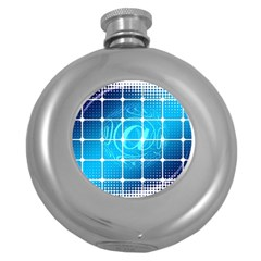 Tile Square Mail Email E Mail At Round Hip Flask (5 Oz)