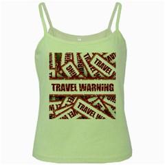 Travel Warning Shield Stamp Green Spaghetti Tank