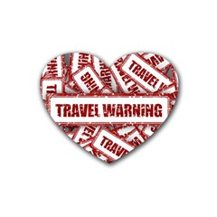Travel Warning Shield Stamp Rubber Coaster (heart)