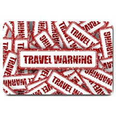 Travel Warning Shield Stamp Large Doormat  by Nexatart