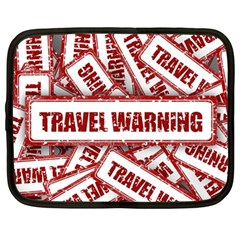 Travel Warning Shield Stamp Netbook Case (large) by Nexatart