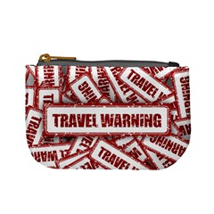 Travel Warning Shield Stamp Mini Coin Purses by Nexatart