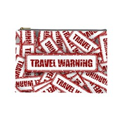 Travel Warning Shield Stamp Cosmetic Bag (large)