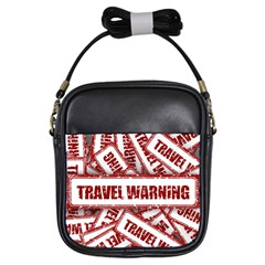 Travel Warning Shield Stamp Girls Sling Bags by Nexatart