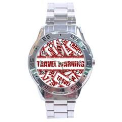 Travel Warning Shield Stamp Stainless Steel Analogue Watch