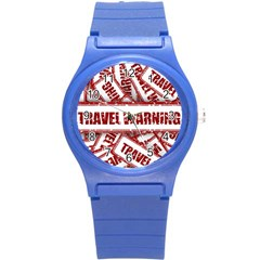 Travel Warning Shield Stamp Round Plastic Sport Watch (s)