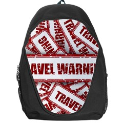 Travel Warning Shield Stamp Backpack Bag by Nexatart