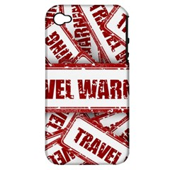 Travel Warning Shield Stamp Apple Iphone 4/4s Hardshell Case (pc+silicone) by Nexatart