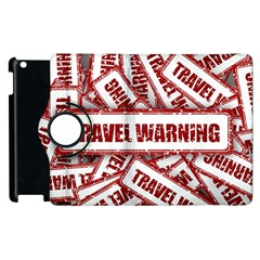 Travel Warning Shield Stamp Apple Ipad 2 Flip 360 Case by Nexatart