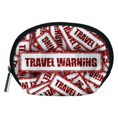 Travel Warning Shield Stamp Accessory Pouches (medium)  by Nexatart
