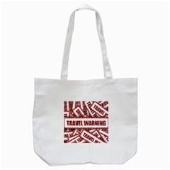 Travel Warning Shield Stamp Tote Bag (white) by Nexatart