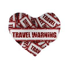Travel Warning Shield Stamp Standard 16  Premium Flano Heart Shape Cushions