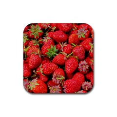 Strawberries Berries Fruit Rubber Square Coaster (4 Pack)