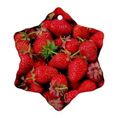 Strawberries Berries Fruit Snowflake Ornament (two Sides) by Nexatart