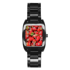 Strawberries Berries Fruit Stainless Steel Barrel Watch