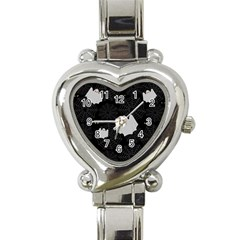 Spider Web And Ghosts Pattern Heart Italian Charm Watch by Valentinaart