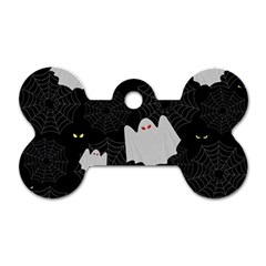 Spider Web And Ghosts Pattern Dog Tag Bone (one Side) by Valentinaart