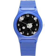 Spider Web And Ghosts Pattern Round Plastic Sport Watch (s) by Valentinaart