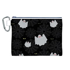 Spider Web And Ghosts Pattern Canvas Cosmetic Bag (l) by Valentinaart