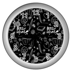 Back To School Wall Clocks (silver)  by Valentinaart