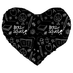 Back To School Large 19  Premium Heart Shape Cushions by Valentinaart