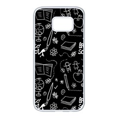Back To School Samsung Galaxy S7 Edge White Seamless Case by Valentinaart