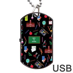 Back To School Dog Tag Usb Flash (one Side) by Valentinaart