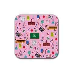 Back To School Rubber Square Coaster (4 Pack)  by Valentinaart