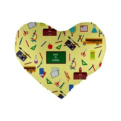 Back To School Standard 16  Premium Flano Heart Shape Cushions by Valentinaart