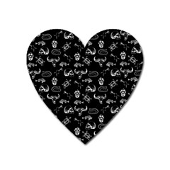 Skeleton Pattern Heart Magnet by Valentinaart